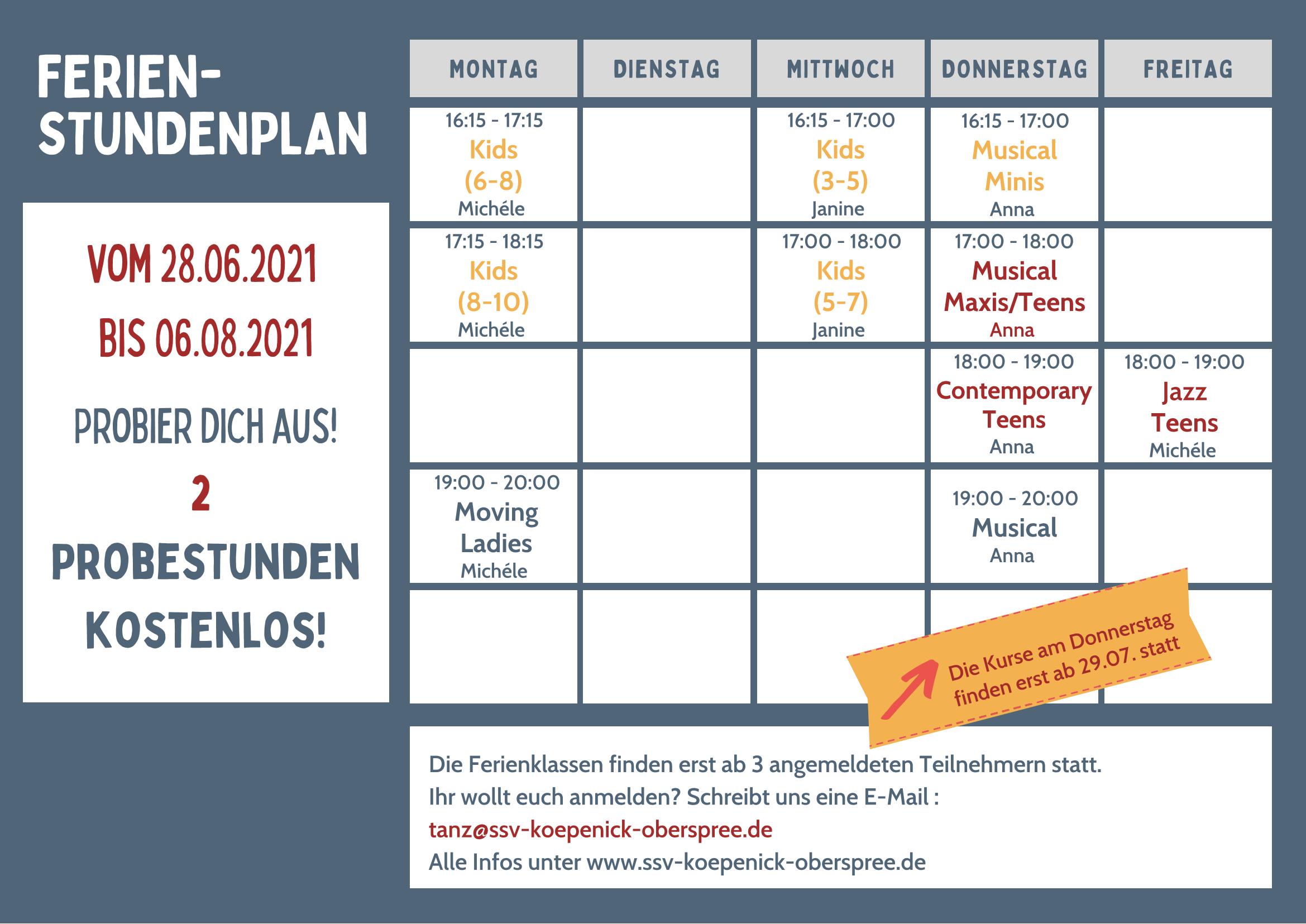 Ferienstundenplan-Tanz
